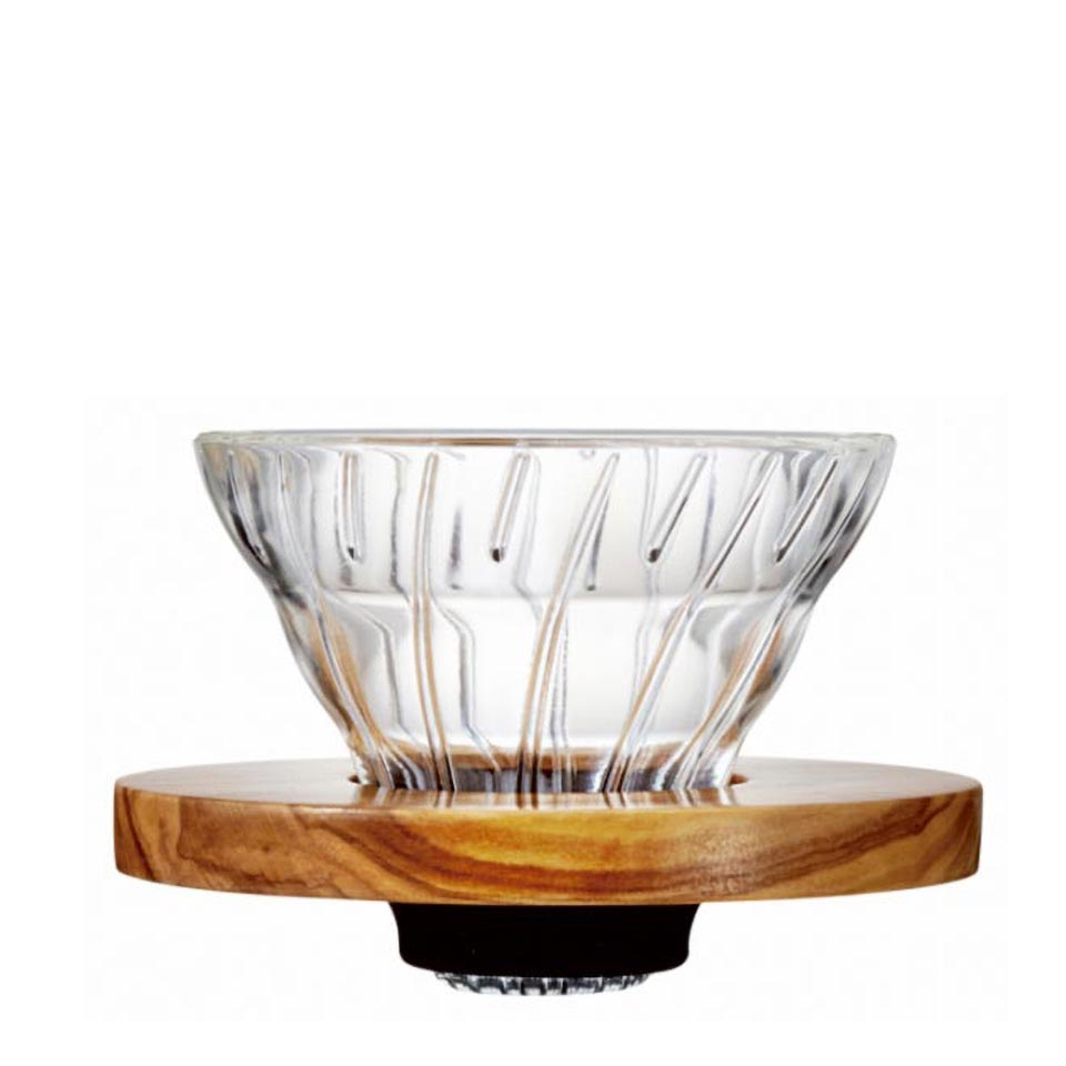 Glass Coffee Dripper V60 01 Olive Wood